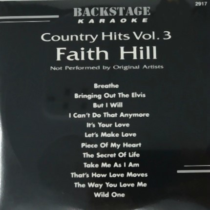 BACKSTAGE KARAOKE COUNTRY HITS VOL 3 FAITH HILL - Front