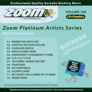 Zoom Platinum Artists - Volume 108 - Hits Of Connie Francis - Karaoke Playbacks - Front