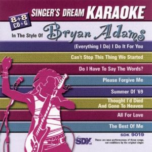 Bryan Adams - Karaoke Playbacks - SDK 9019 - CD-Front-Bild